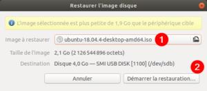 gnome-disks Ubuntu - sélection image iso