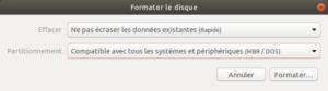 gnome-disks ubutnu - paramètres pour formater clé usb