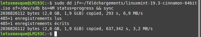 Linux Mint - Création clé USB Bootable en ligne de commande