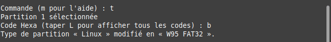 fdisk - convertir partition en fat32
