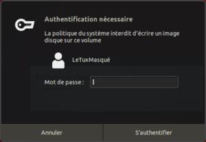 ubuntu - authentification création usb bootable