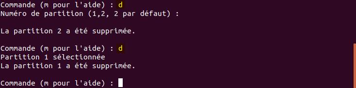 fdisk supprimer les partitions existantes