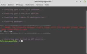 Simulation pour mettre à niveau vers LMDE 4 - error