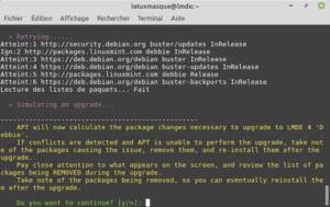 mintupgrade check - simulation pour mettre à niveau vers LMDE 4