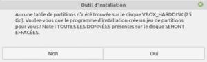 confirmation création partitions pour installation de lmde 4