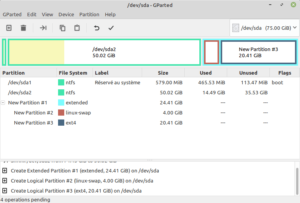 gparted avec partitions pour dualboot Windows lmde 4