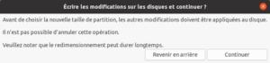 installation ubuntu 20.04 - type installation - avertissement