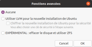 installation ubuntu 20.04 - type installation - fonctions avancées