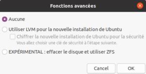 installation ubuntu 20.04 - type installation - fonctions avancées