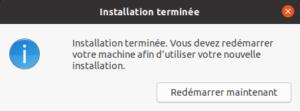 installer ubuntu 20-04 LTS - redémarrage de fin