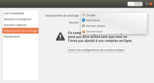 Ubuntu 18.04 - destination des sauvegardes