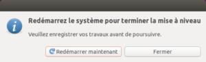 Fin mise à niveau vers Ubuntu 20.04 LTS - redémarrage