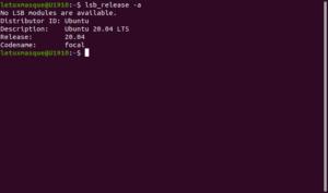 Contrôle version Ubuntu 20.04 en ligne de commande