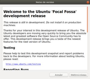 notes de version Ubuntu 20.04 LTS