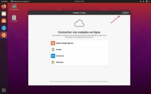 premier démarrage Ubuntu 20.04 - 1 - compte en ligne