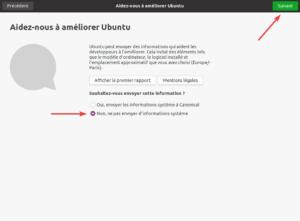 premier démarrage Ubuntu 20.04 - 3 - autorisation collecte