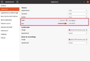 Options pour sélectionner le thème Ubuntu Yaru-Dark pour GNOME Shell
