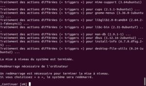 Redémarrage fin mise à niveau vers Ubuntu 20.04 LTS