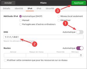 changer DNS dans Ubuntu