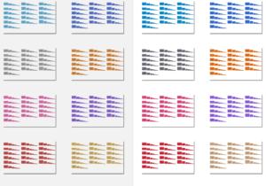Exemple de couleurs thème (à gauche : anciennes couleurs, à droite : nouvelles couleurs)