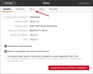 détail connexion réseau Ubuntu