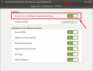 écran de connexion - options dans Ubuntu MATE