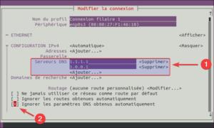 nmtui - changer DNS dans Ubuntu