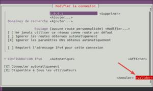 nmtui - valider modification