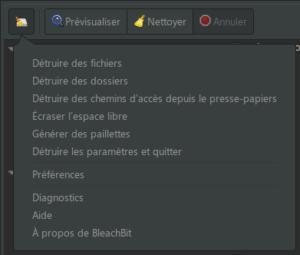 Options détruire des fichiers ou dossiers dans Bleachbit