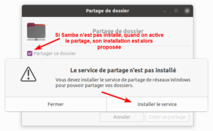installation samba lors de l'activation du partage dans Ubuntu