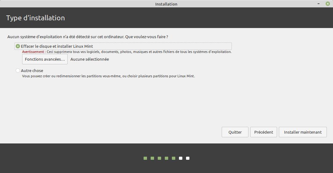 Type installation - Pas d'autre OS présent