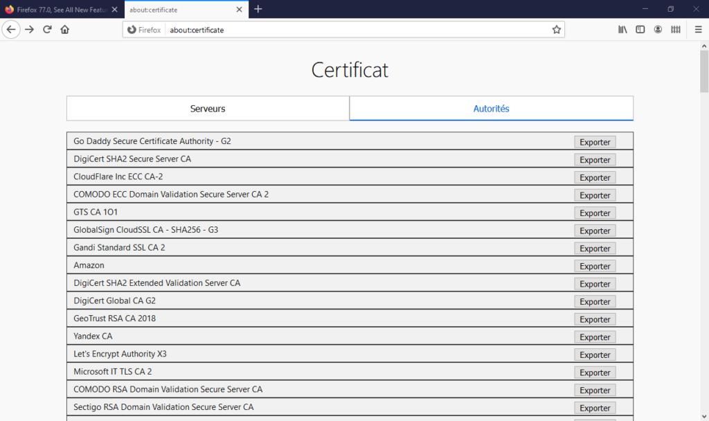 about:certificates