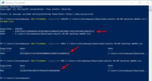 Vérifier l'intégrité d'un fichier sous Windows : calculer empreintes d'un fichier sous Windows et powerShell