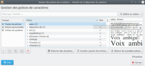 gestion polices de caractères dans Kubuntu