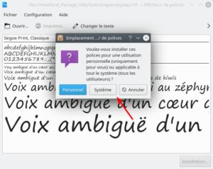 installation police caractères dans système Kubuntu