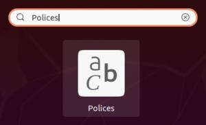 lanceur gestionnaire polices de caractères dans Ubuntu