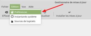 Linux Mint 20 - Gestionnaire des MAJ - accès préférences