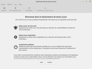Linux Mint 20 - bienvenue gestionnaire des MAJ