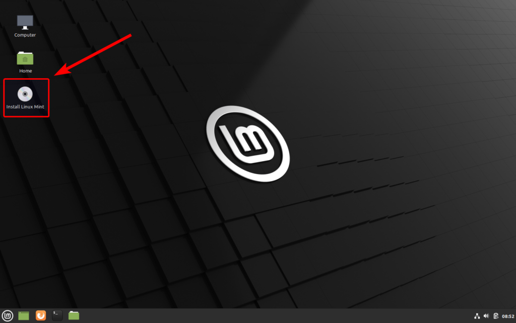 Raccourcis pour lancer l'installation de Linux Mint 20
