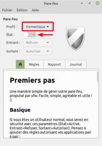 linux mint 20 - pare-feu profil domestique