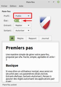 linux mint 20 - pare-feu profil public
