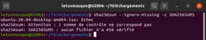 résultat vérification intégrité fichier sous Ubuntu - Echec