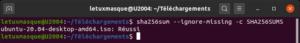 résultat vérification intégrité fichier sous Ubuntu - Réussi