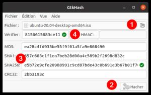 vérifier intégrité fichier avec gtkhash sous ubuntu