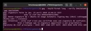 vérifier signature sha256sums Ubuntu 20.04