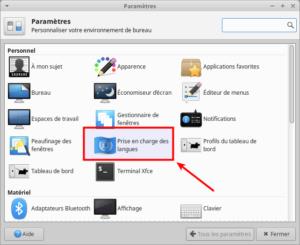 accès prise en charges des langues Xubuntu