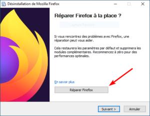 désinstaller Firefox avec bouton réparer