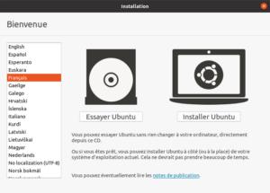 installation ubuntu choix langue