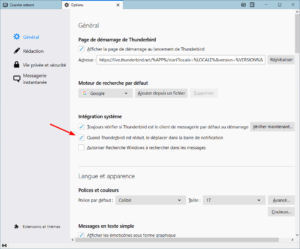 option Thunderbird dans barre notification