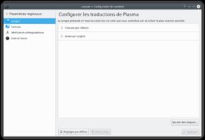 paramètres de langue kubuntu